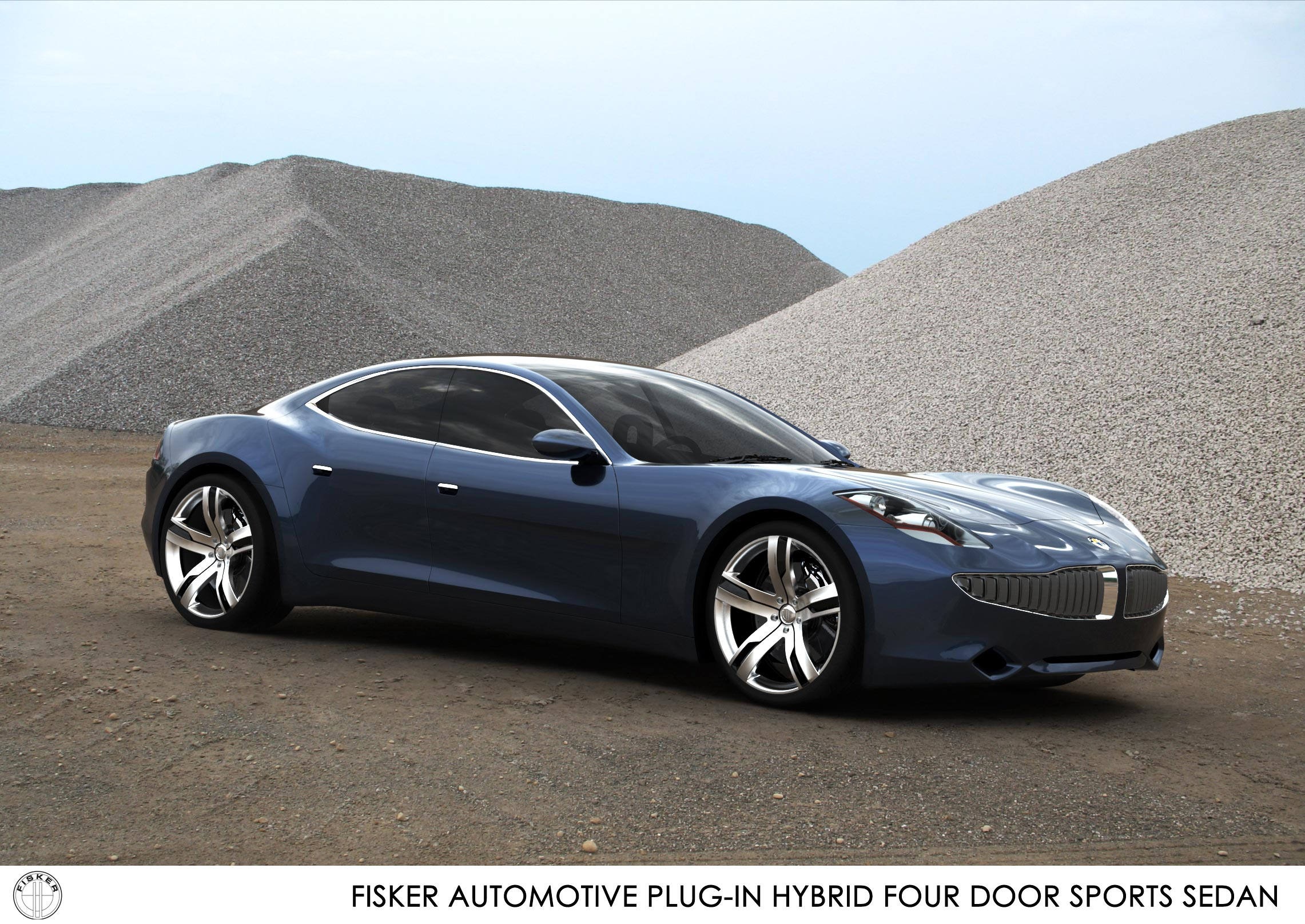 fisker hybride 4 deurs sport sedan 3d rendering. Black Bedroom Furniture Sets. Home Design Ideas