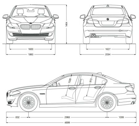 BMW 5 Serie F10 afmetingen