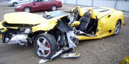 Ferrari 360 Spider crash opa