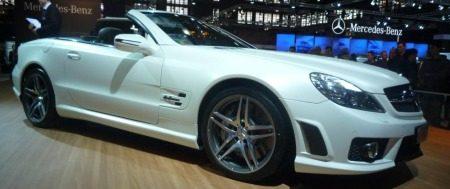 Mercedes SL63 AMG mat wit Brussel
