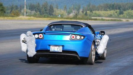 Tesla Roadster tire sound testing