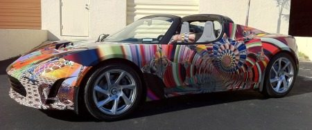 Tesla Roadster, voor en door hippies