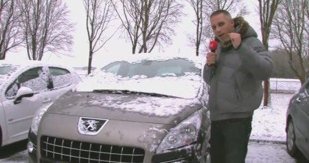 Wouter met Peug in sneeuw