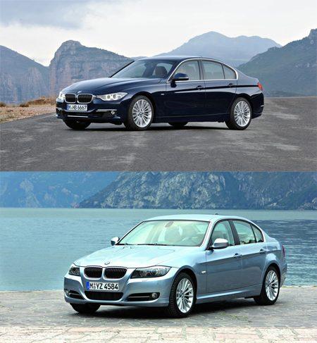 BMW 3 Serie F30 vs E90 schuin van voren