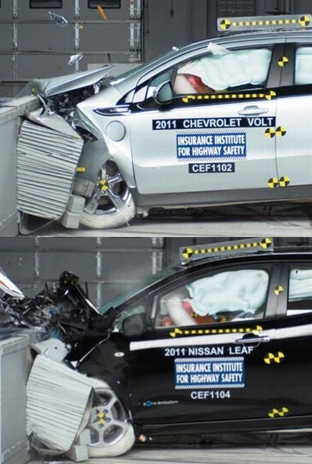 Volt en Leaf crashtest