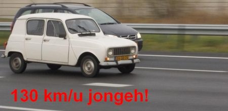Renault 4 op topsnelheid