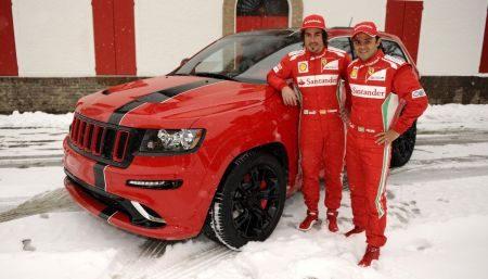 Jeep Grand Cherokee SRT8 met Fernando Alonso en Felipe Massa