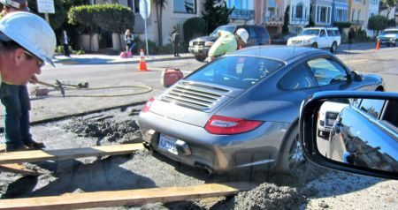 Porsche 911 vast in cement - Copyright Jalopnik
