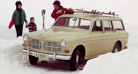 Volvo Amazon Station in de sneeuw!