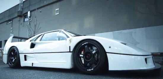 Video: Witte Ferrari F40 overgoten met Japansaus