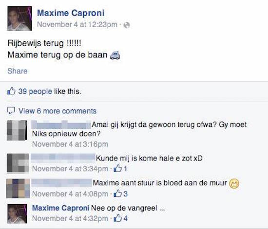 Maxime 'Caproni' Suetens op Facebook