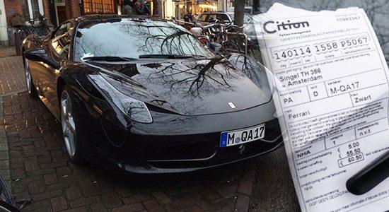 Ferrari 458 Italia met boete