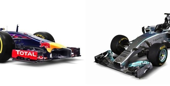 Red Bull Racing RB10 vs Mercedes AMG W05
