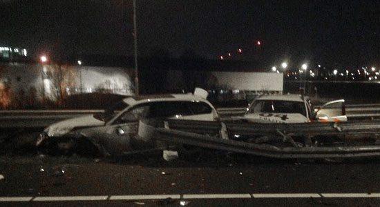 Crash A5 met politie en BMW 3 serie