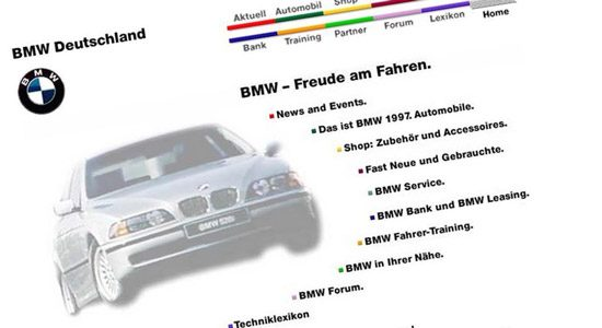De eerste website van BMW Duitsland
