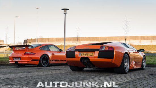 Lamborghini en Porsche in het oranje