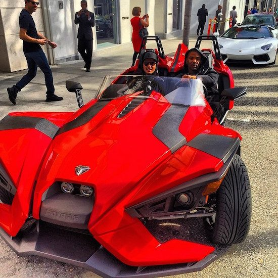 The Game in zijn Polaris Slingshot