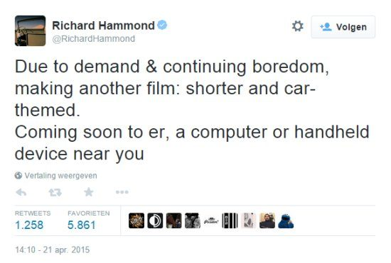 Tweet van Richard Hammond