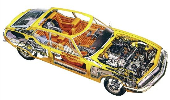 citroen-sm-technical-view-yellow