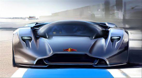 Red Bull logo op een Aston Martin DP 001. Omdat het kan.