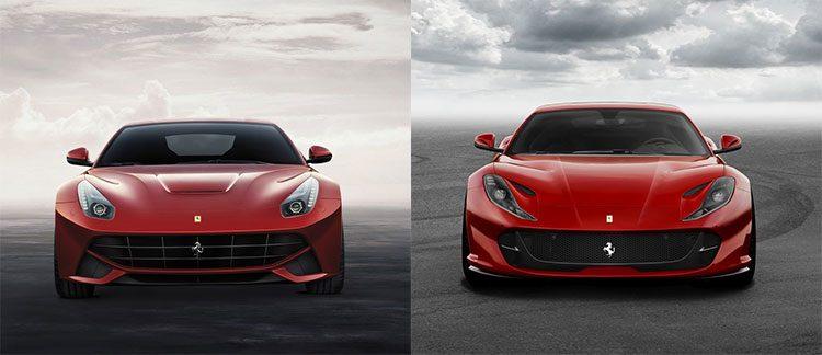 Ferrari F12berlinetta vs 812 Superfast front