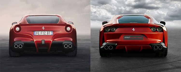 Ferrari F12berlinetta vs 812 Superfast rear