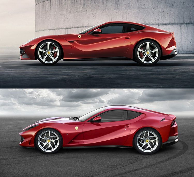 Ferrari F12berlinetta vs 812 Superfast side