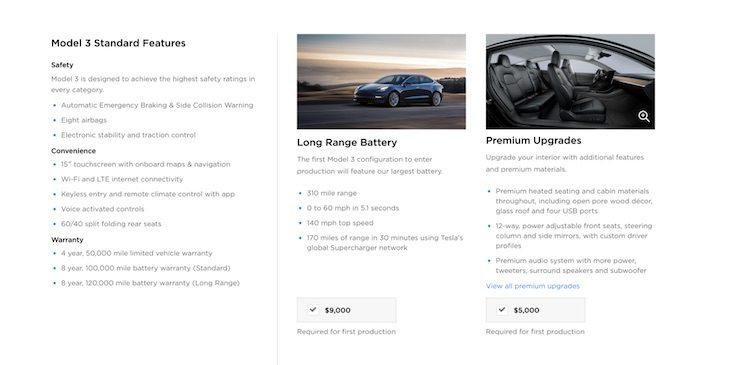 Dit is de optielijst van de Tesla Model 3
