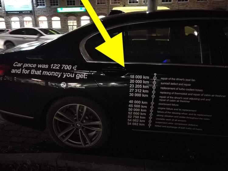 BMW-rijder houdt problemen 7 Serie bij, óp de auto